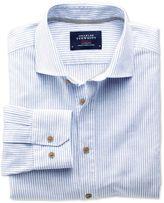 Charles Tyrwhitt Slim Fit Spread Collar Popover Mid Blue Stripe Cotton Casual Shirt Single Cuff Size XS