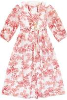 Lesy Coral Print Cold Shoulder Dress
