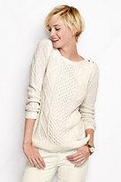 Lands' End Women's Petite Lofty Lurex Aran Boatneck Sweater-Ivory