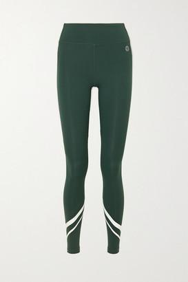 Tory Sport Striped Stretch Leggings - Dark green