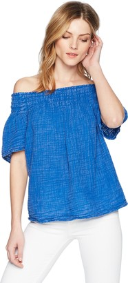 Michael Stars Women's Sun Wash Double Gauze Short Sleeve Smocked Top