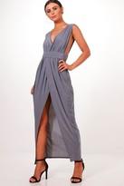 boohoo Petite Sarah Plunge Drape Maxi Dress