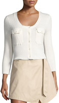 Frame Rib Patch Pocket Cotton Sweater, Off White