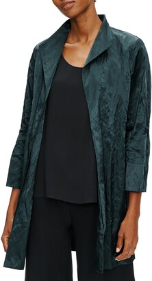 Eileen Fisher Satin Steel Organic Cotton Blend Long Jacket