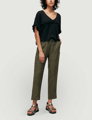 Whistles Frill-trim linen top