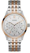 GUESS Men's Stainless Steel Casual Watch with Day, Date & 24 hr Int'l Time Display, Color: Two-Tone (Model: U0995G3)