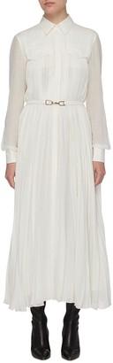 Gabriela Hearst 'Erella' Belted Pleat Silk Virgin Wool Blend Shirt Dress