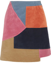 MiH Jeans Kalle Patchwork Suede Mini Skirt - Pink
