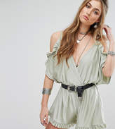 Missguided Cold Shoulder Plunge Playsuit