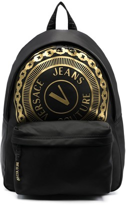 Versace Jeans Couture Metallic Logo-Print Backpack