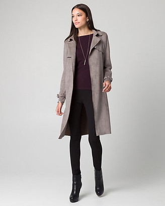 Le Château Faux Suede Spread Collar Trench Coat