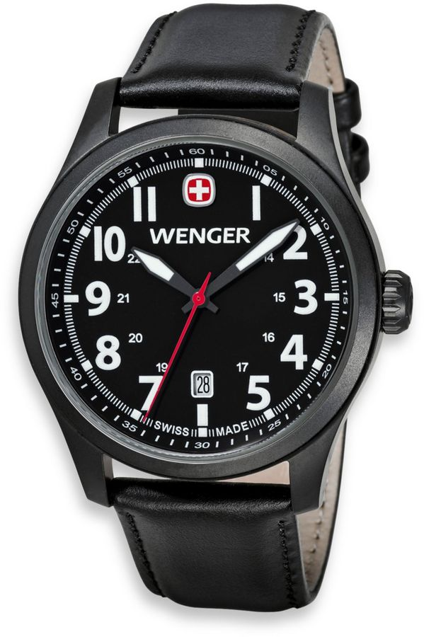 Wenger Men's Terragraph Watch with PVD case and Leather Band in Black