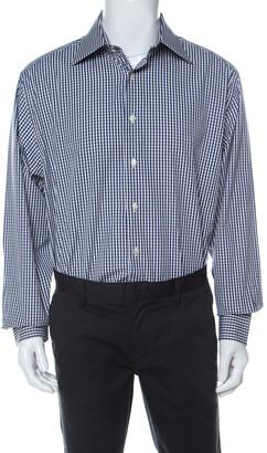 Emporio Armani Navy Blue and White Checked Cotton Long Sleeve Shirt XXL