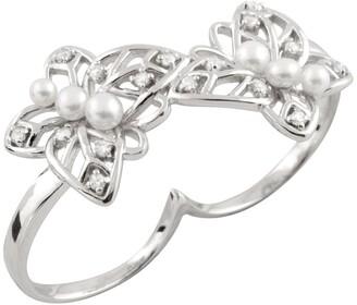 Splendid Pearls Leaf Freshwater Pearl Two Finger Ring - Size 7