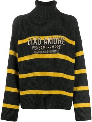 Giada Benincasa Stripe Slogan Knit Jumper