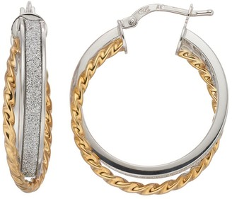 Two Tone Sterling Silver Twisted Rope Glitter Hoop Earrings