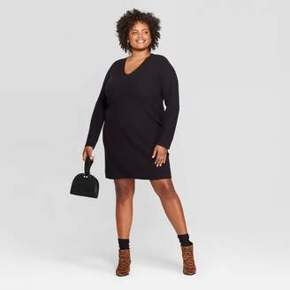 A New Day Women's Plus Size Long Sleeve V-Neck Sweater Dress