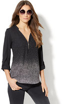 New York & Co. Soho Soft Shirt - Zip-Front Popover - Gradated Dot Print