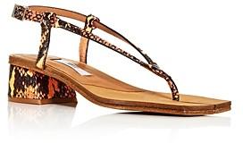 Miista Women's Myriam Snake-Embossed Block-Heel Thong Sandals