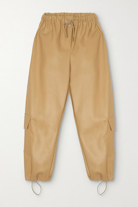 Frankie Shop Yoyo Faux Leather Tapered Pants - Tan