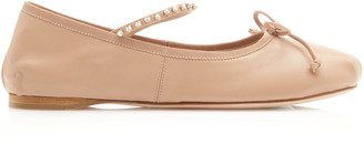 Miu Miu Crystal-Embellished Leather Ballet Flats