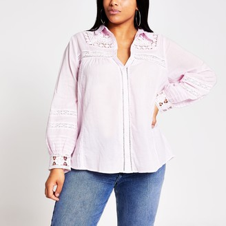 River Island Womens Plus Pink long sleeve embroidered shirt