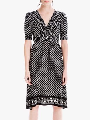 Max Studio Geometric Print V Neck Dress, Black/Ivory