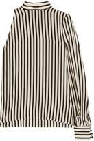 MSGM One-shoulder Striped Silk Crepe De Chine Top - Off-white