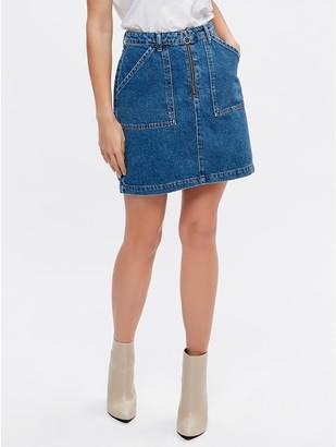 M&Co Petite zip front denim skirt