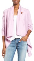 Bobeau Women's One-Button Fleece Wrap Cardigan