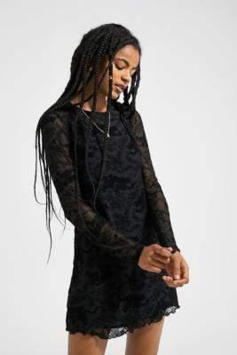 Urban Outfitters Flocked Dragon Mini Dress - black XS at