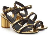 Salvatore Ferragamo Metallic Leather Sandals with Suede
