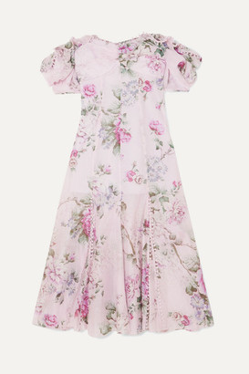Alice McCall Send Me A Postcard Floral-print Cotton And Silk-blend Midi Dress - Lilac