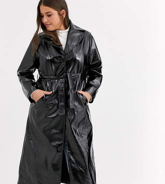 Daisy Street Plus belted maxi trench coat in vinyl-Black