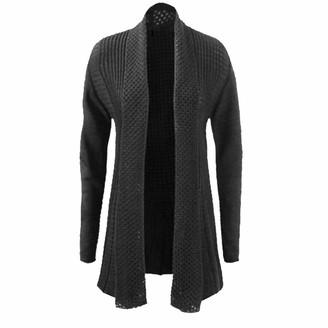 IQ Knitwear Womens Ladies Knitted Waterfall Cardigan Boyfriend Jumper Plus Size UK 16-26 (UK 16-18
