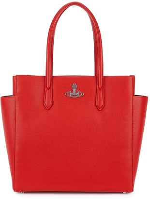Vivienne Westwood Johanna red faux leather tote
