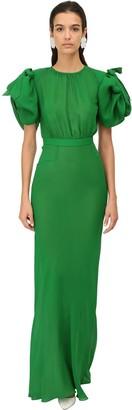 Alessandra Rich Silk Georgette Long Dress