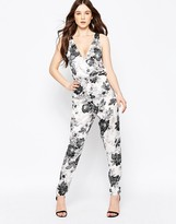 Girls On Film Floral Jumpsuit With Lace Back