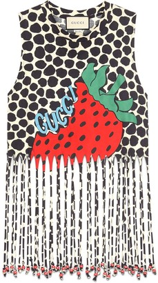 Gucci Fringe tank with Strawberry print