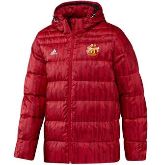 adidas Mens MUFC Manchester United FC Down Jacket Real Red/White