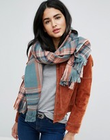 Pieces Long Checked Scarf In Balsam
