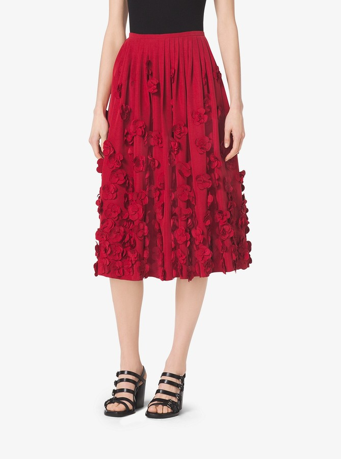 Michael Kors Collection Floral-Embroidered Washed-Faille Skirt