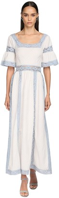 Luisa Beccaria Colored Lace & Cotton Long Dress