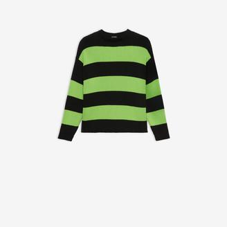 Balenciaga Crewneck in black and neon green striped ribbed knit