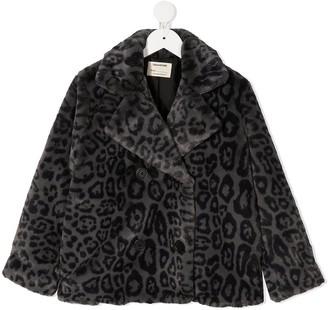Zadig & Voltaire Kids Leopard Faux Fur Coat