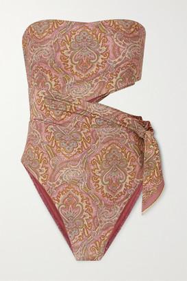 Zimmermann Freja Tie-detailed Cutout Paisley-print Bandeau Swimsuit