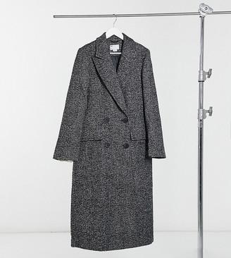 Asos Tall ASOS DESIGN Tall salt and pepper maxi coat in mono