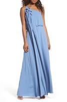 BCBGMAXAZRIA Women's Waterfall Ruffle One-Shoulder Gown