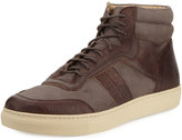 Andrew Marc Concord Canvas High-Top Sneaker, Brown/Cream