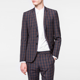 Paul Smith Men's Slim-Fit Navy And Burgundy Tonal-Check Merino-Wool Blazer